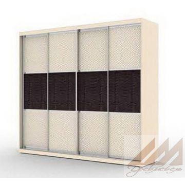 Шкаф купе четырехдверный с вставками серии Эконом