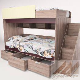 Двухъярусная кровать Бамбино 3-1