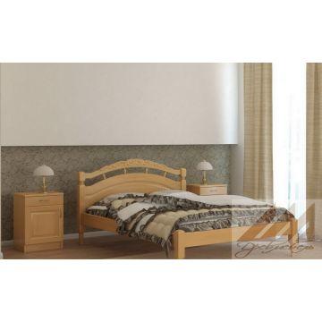 Кровать Джулия с резьбой (сосна, береза, бук, дуб)
