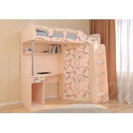 Кровать чердак Астра 7 Сердечки