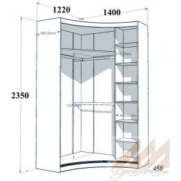 Угловой радиусный шкаф купе ассиметричный левый 1220х1400
