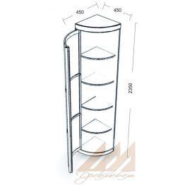 Угловой распашной шкаф с наружным радиусом, выпуклый 450х450
