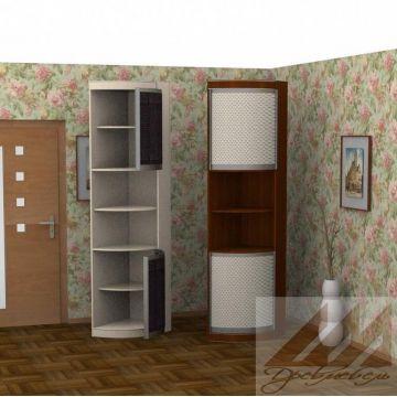 Радиусная распашная колонка с 2 дверьми, асимметричная, 600х450