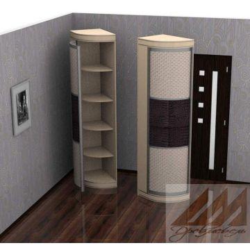 Угловой радиусный шкаф распашной, асимметричный 600х450