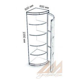 Угловая распашная радиусная колонка с полками 600х600